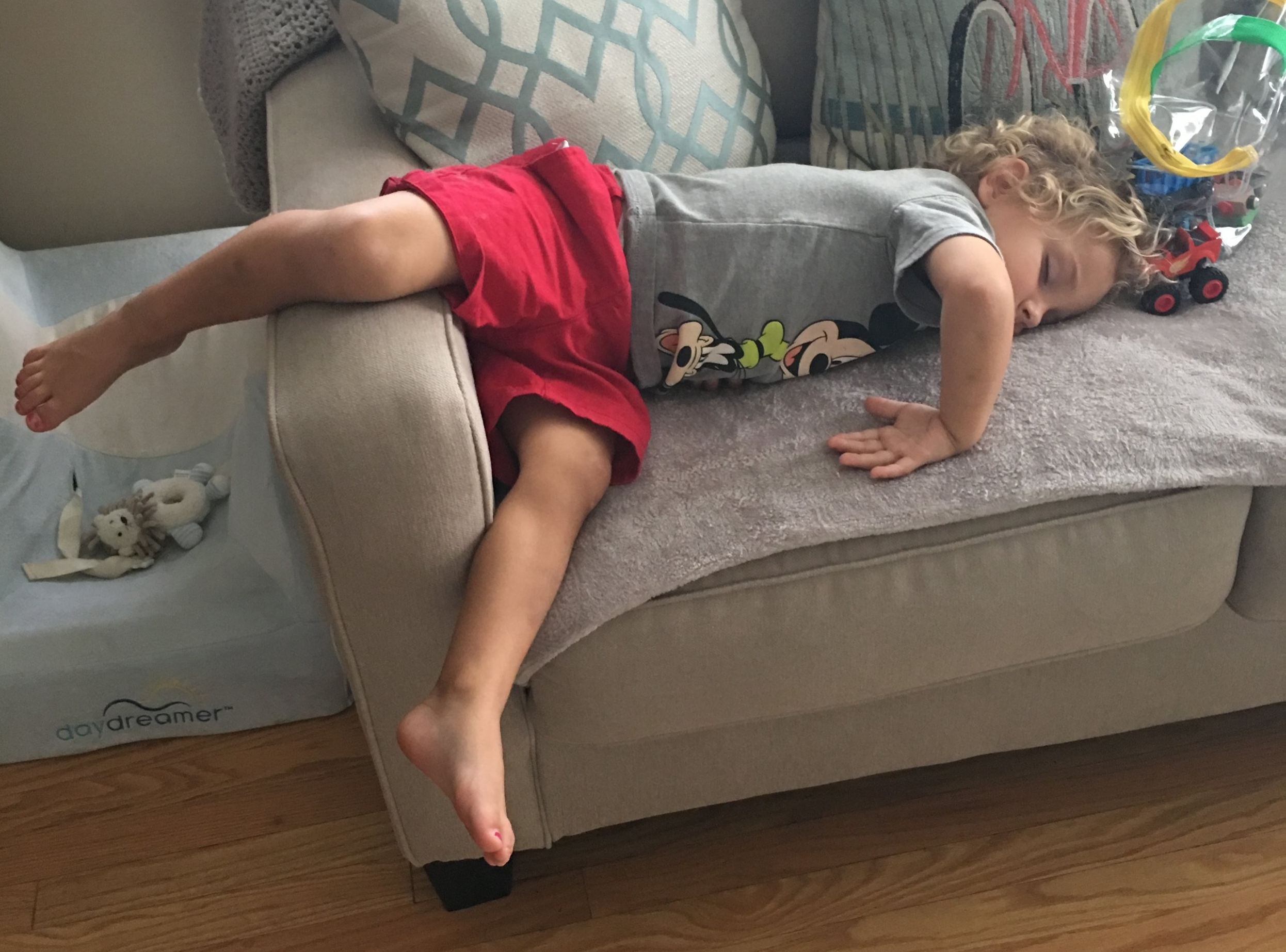 Does this look like your child? Toddlers don't always sleep in the healthiest positions. Staying in this position will lead to right wrist pain and hip pain. Toddlers don't have the words to explain all these aches and pains, give us a call and we can check them out.