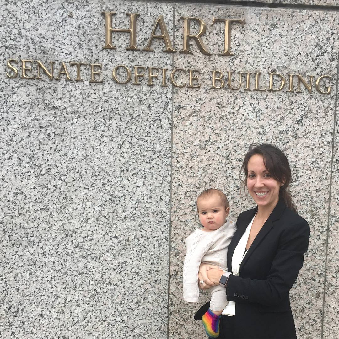 Dr. Erica Heppe & baby Robert outside the senate building, after talking with Senator Kaine's & Senators warners office about chiropractic care for tricare beneficiaries & veterans.