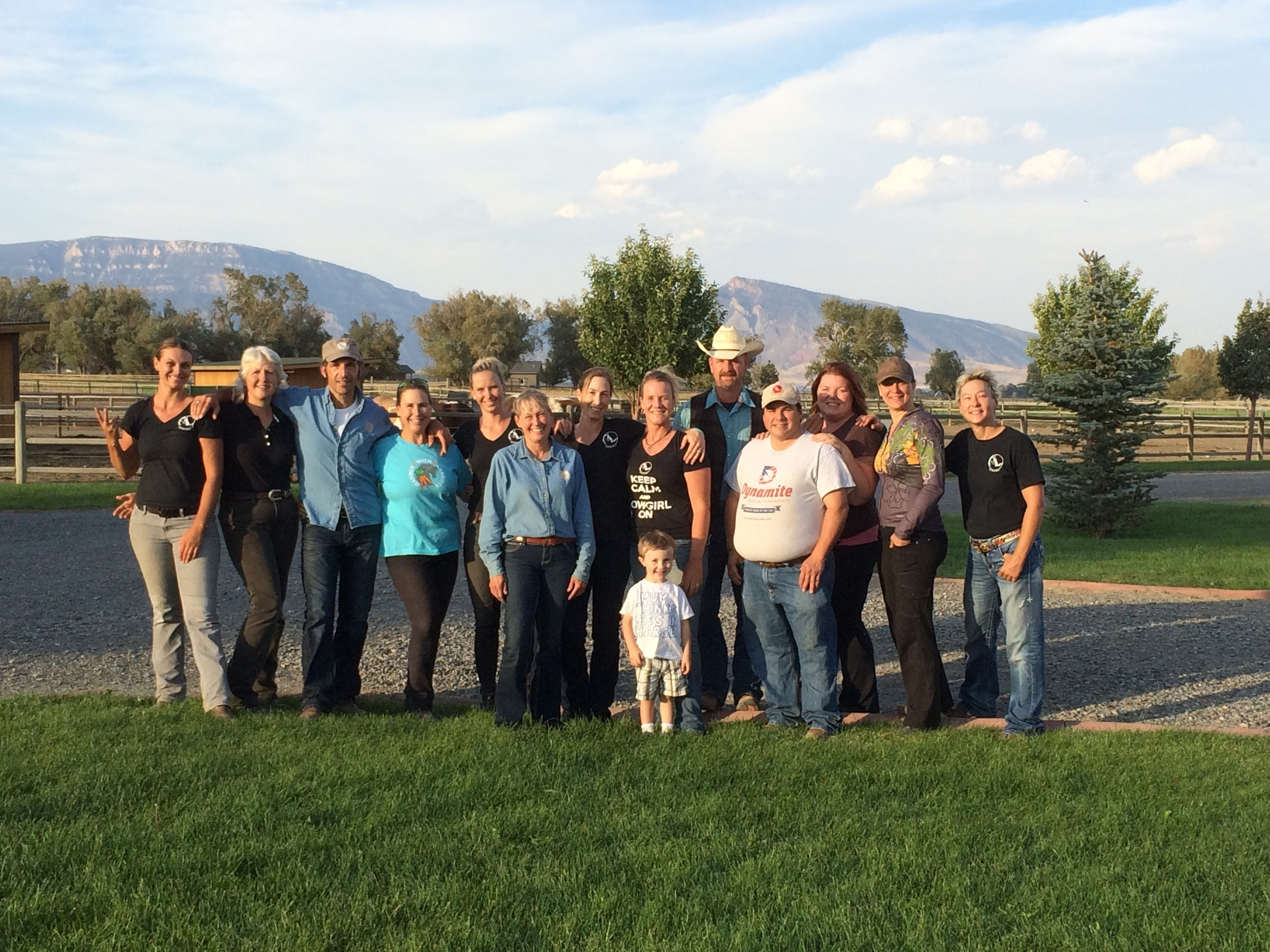 "ROTH Colt Starting Clinic 2015, from left: Clea Hall, Michaele Dimock, Gino ""Horseman"", Karen Jones, Liv Bjerre, Patricia Hatle, Sarah Lockwood, Anna Twinney (with little Joseph), Laurent ""Niko"" Nicault, Braxton Dolce, Staci Grattan-Fornshell, Anna Forre, Laura Schumann."