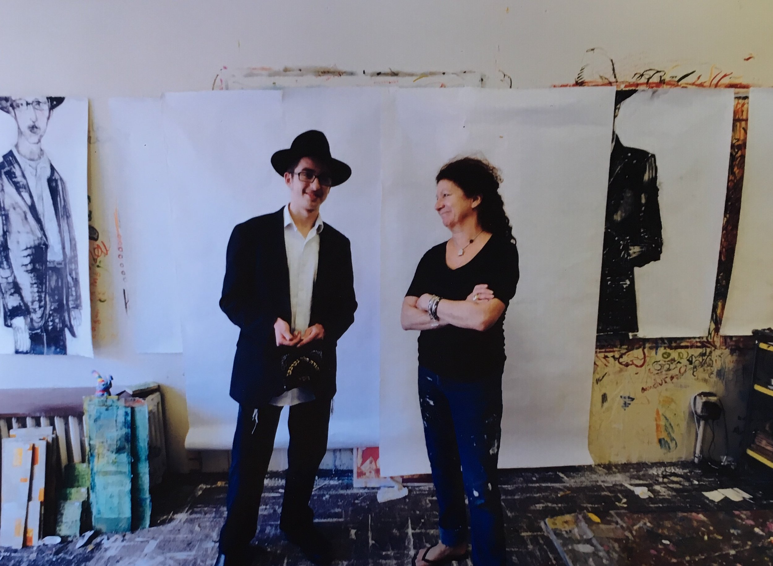 Nancy with Yehuda Gerber, the first boy to pose and be painted by Nancy.