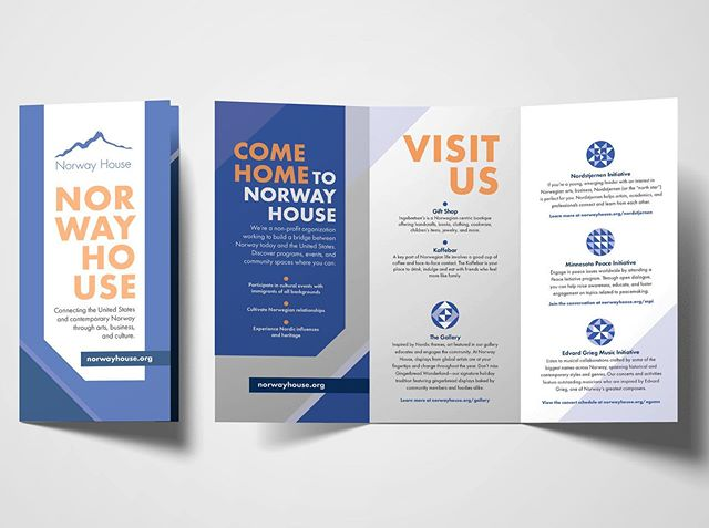 We love the way these brochures turned out for one of our favorite non-profits, @norwayhousemn. If you haven't heard of the work they do, head on over to their page and check it out! #mplsmarketing #printmarketing #brochuredesign