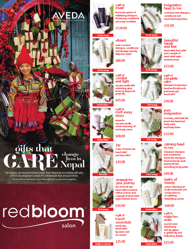 Gift set offerings at RedBloom locations.