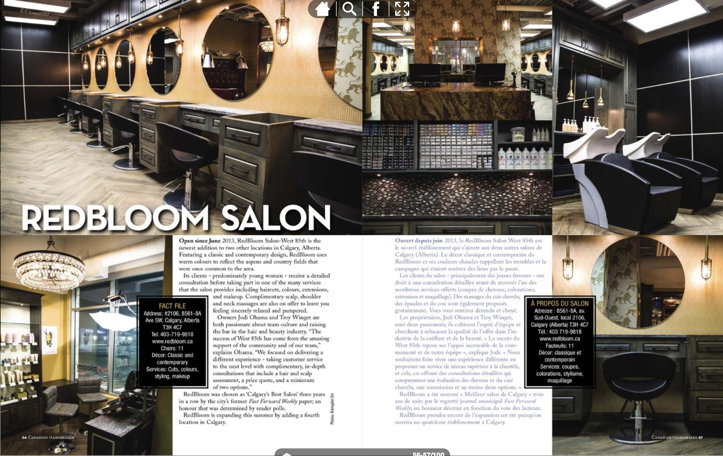 RedBloom Salon feature in Canadian Hairdresser Magazine