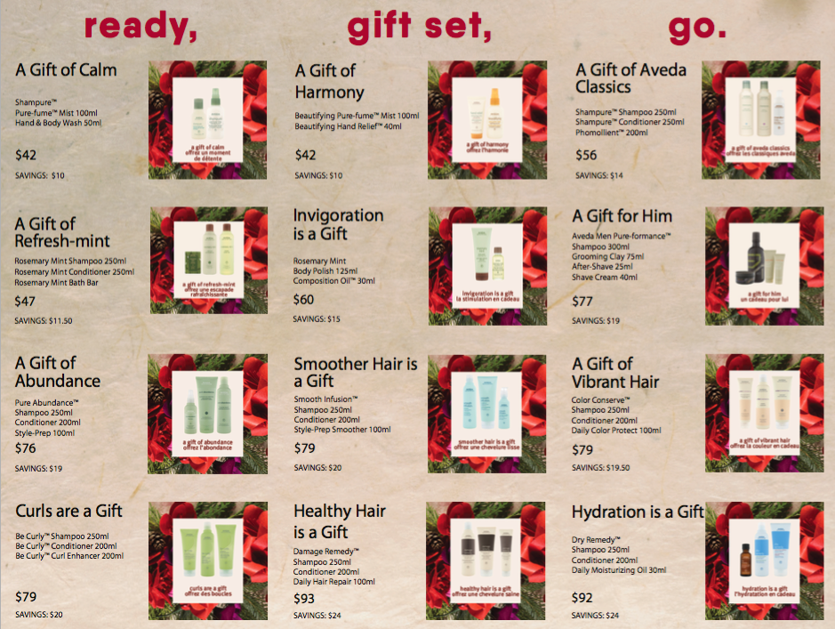 Aveda gift sets at RedBloom 2018