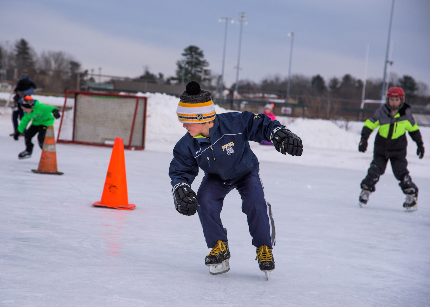 Wyatt Grondin, 9, of Scarborough competes in the Backwards Skating contest.