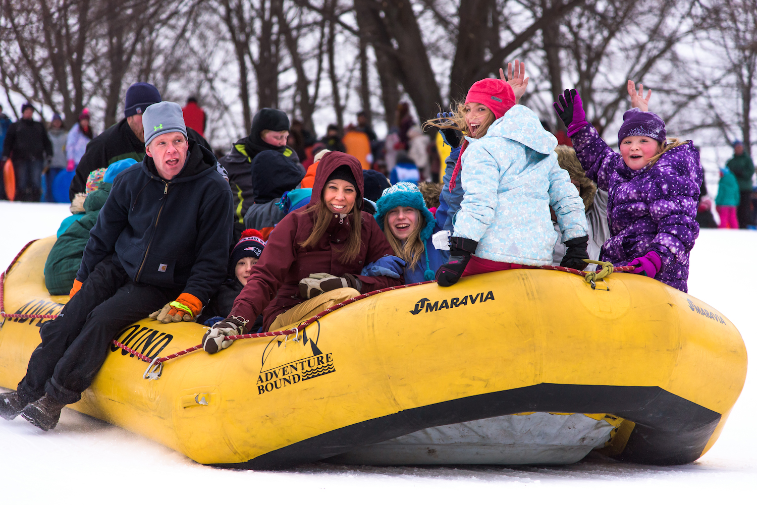 All aboard a snow raft at the WinterKids Welcome to Winter Festival at Payson Park in Portland on January 23, 2016.