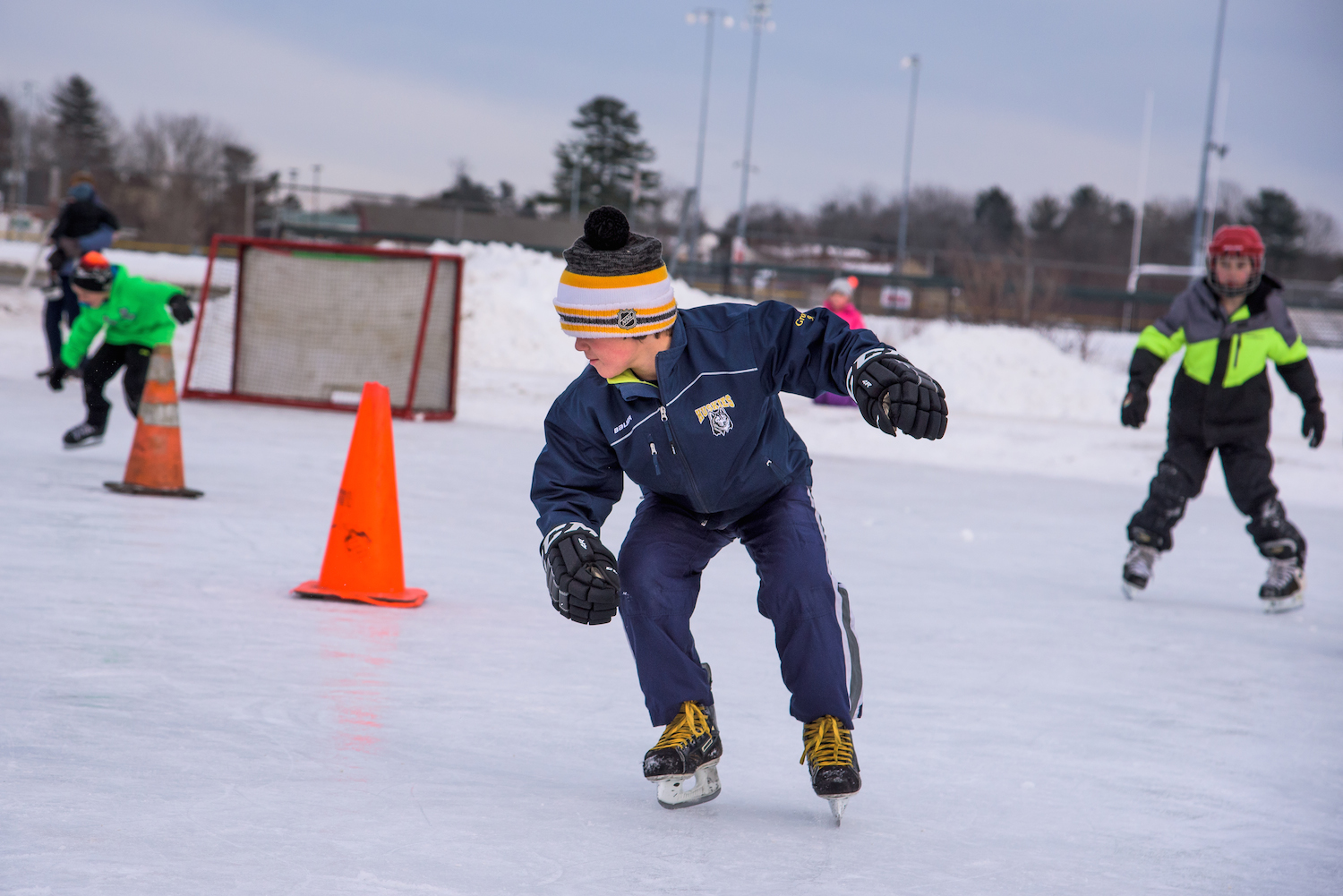 Wyatt Grondin, 9, of Scarborough competes in the Backwards Skating contest, Monday, February 15, 2016 during Scarborough WinterFest 2016 at the town's municipal ice rink.
