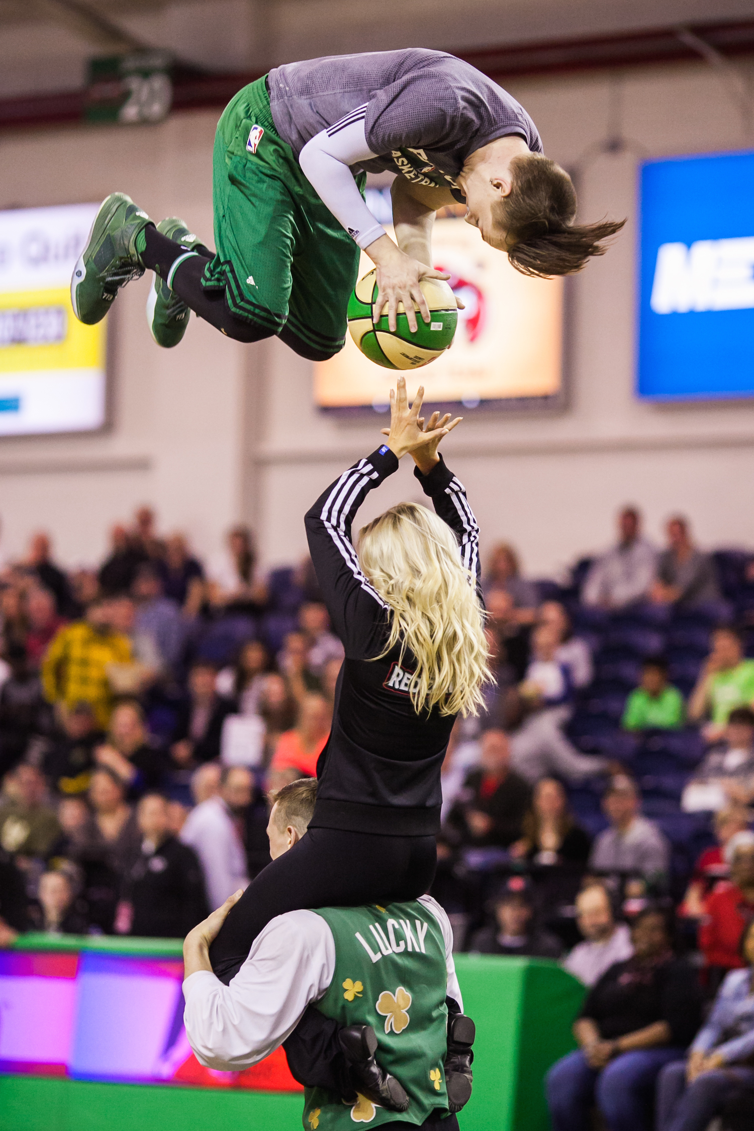 A gravity-defying half-time performance at the Red Claws game against the Delaware 87ers at the Portland Expo,Thursday, March 31, 2016.