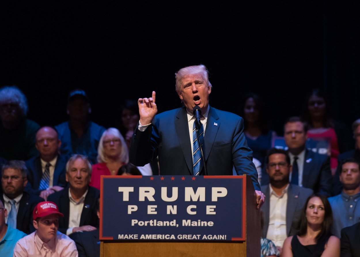 Republican presidential nominee Donald Trump delivers a 50-minute speech on August 4, 2016 at Merrill Auditorium in Portland.