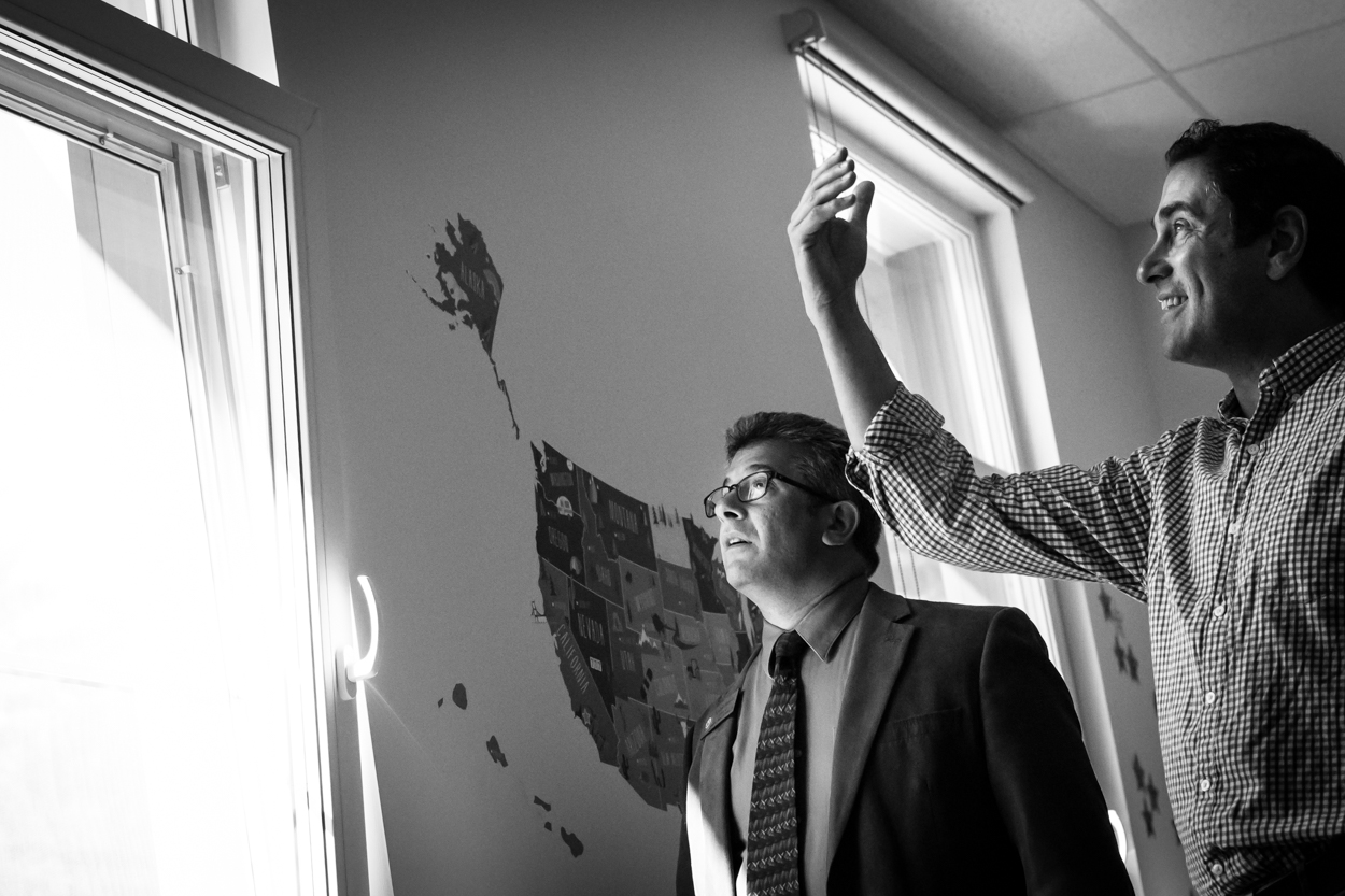 The Friends School of Portland is the first school in Maine, the first commercial project in Maine, and the third school in the nation to achieve Passive House Certification. Phil Kaplan, right, of Kaplan Thompson Architects highlights the building's eco-friendly windows during a tour on Thursday, September 17, 2015.
