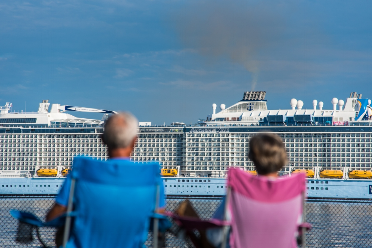 Bug Light Park in South Portland provided prime viewing as the Anthem of the Seas docked at Ocean Gateway in Portland on Sunday morning, August 28, 2016. The vessel carries more than 6,000 passengers and crew, and is the largest cruise ship to visit the city this year.