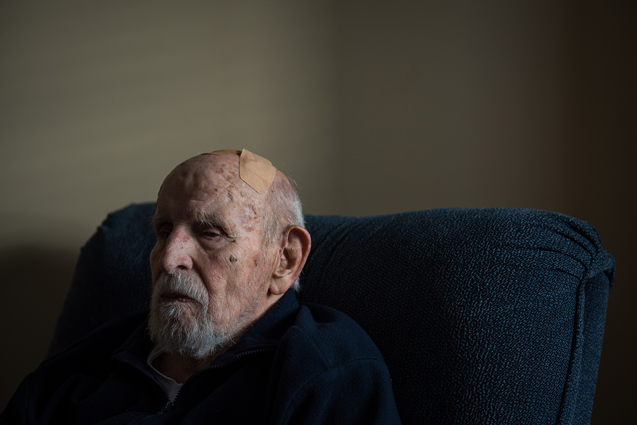World War II B-17 pilot Gordon Glover sits at his home in an assisted living facility in Yarmouth Tuesday, October 25, 2016.From over 16 million Americans who served in the war, few more than 620 thousand are alive today.