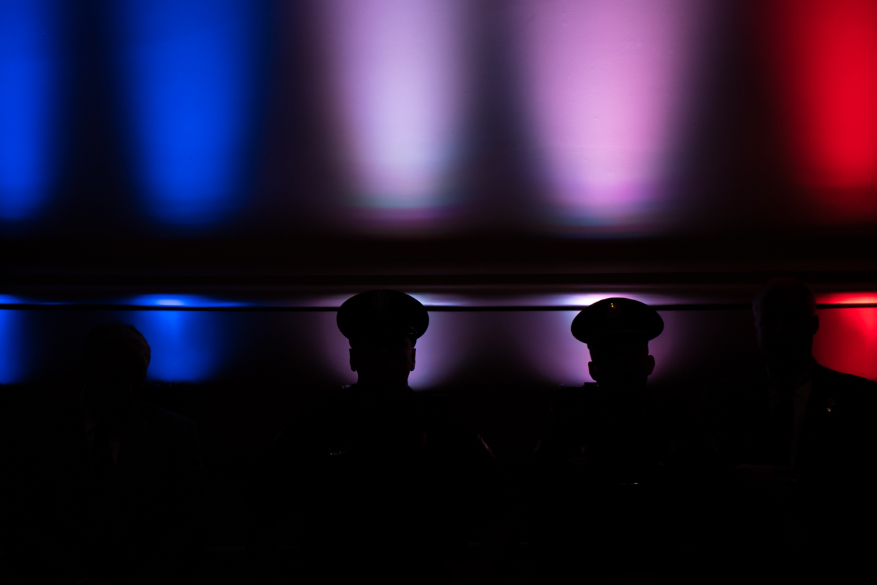Portland police officers stand guard during a Donald Trump rally at Merrill Auditorium on August 4, 2016.