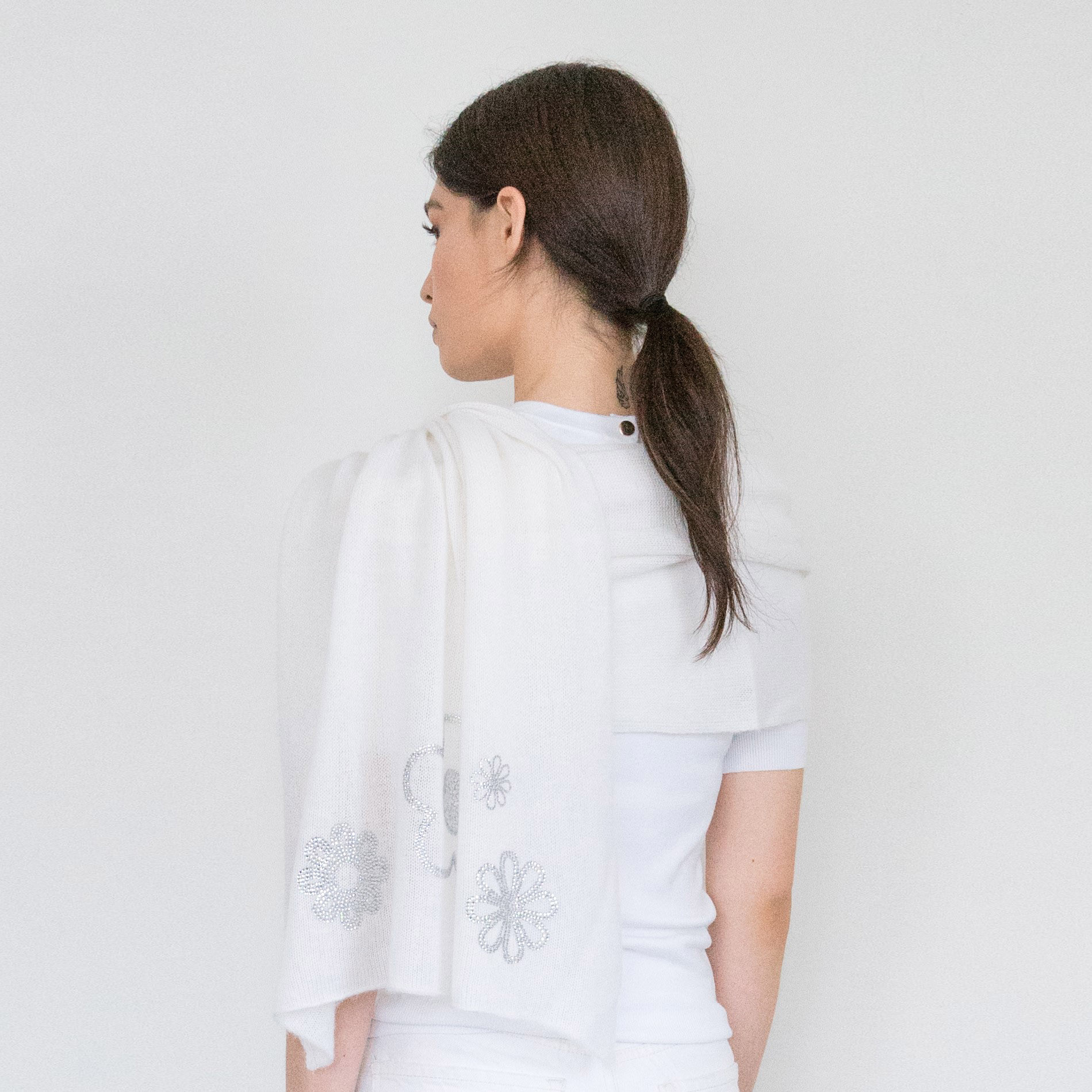 - Scattered Crystal Flowers on Bleached White Cashmere