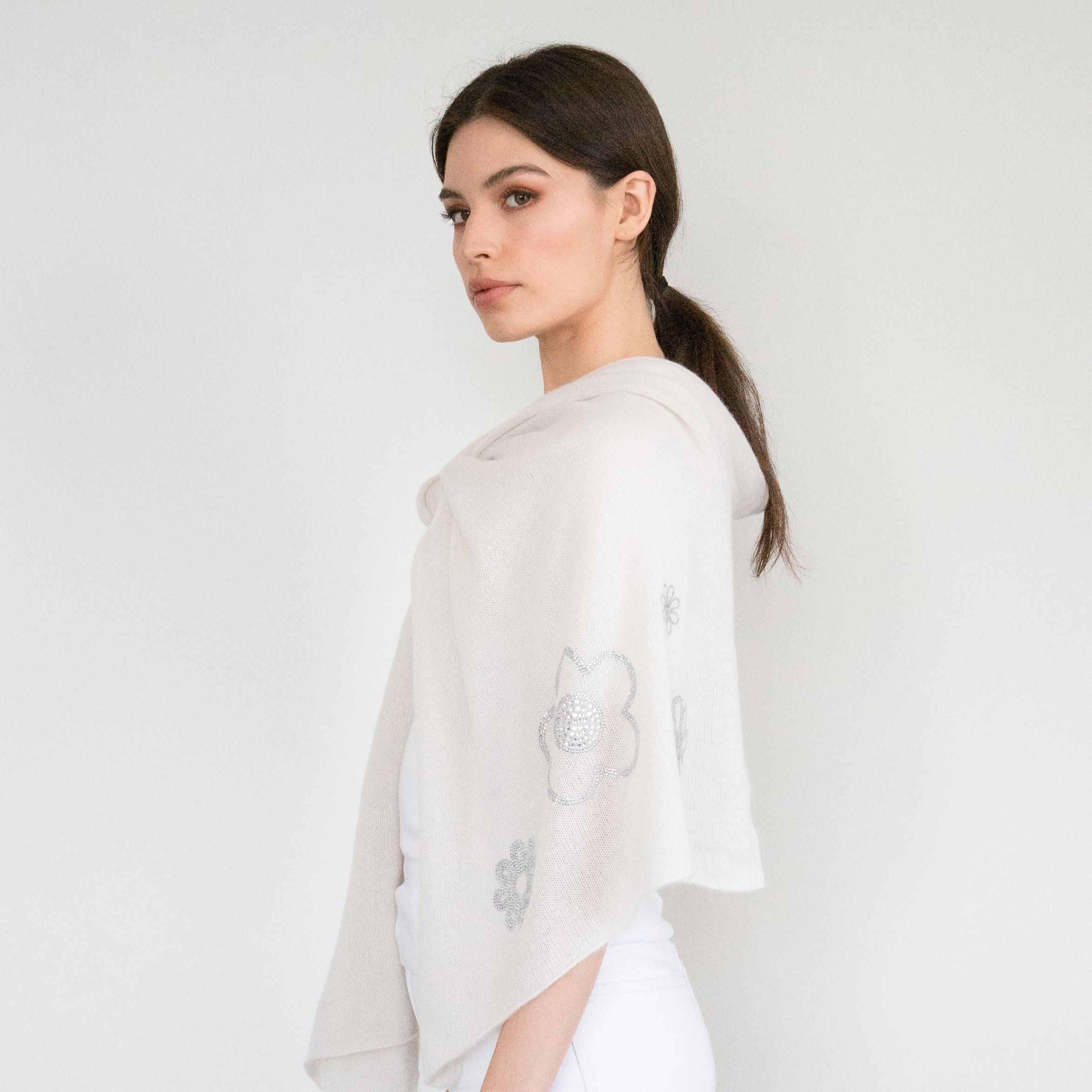 - Scattered Crystal Flowers on Yogi Ivory Cashmere