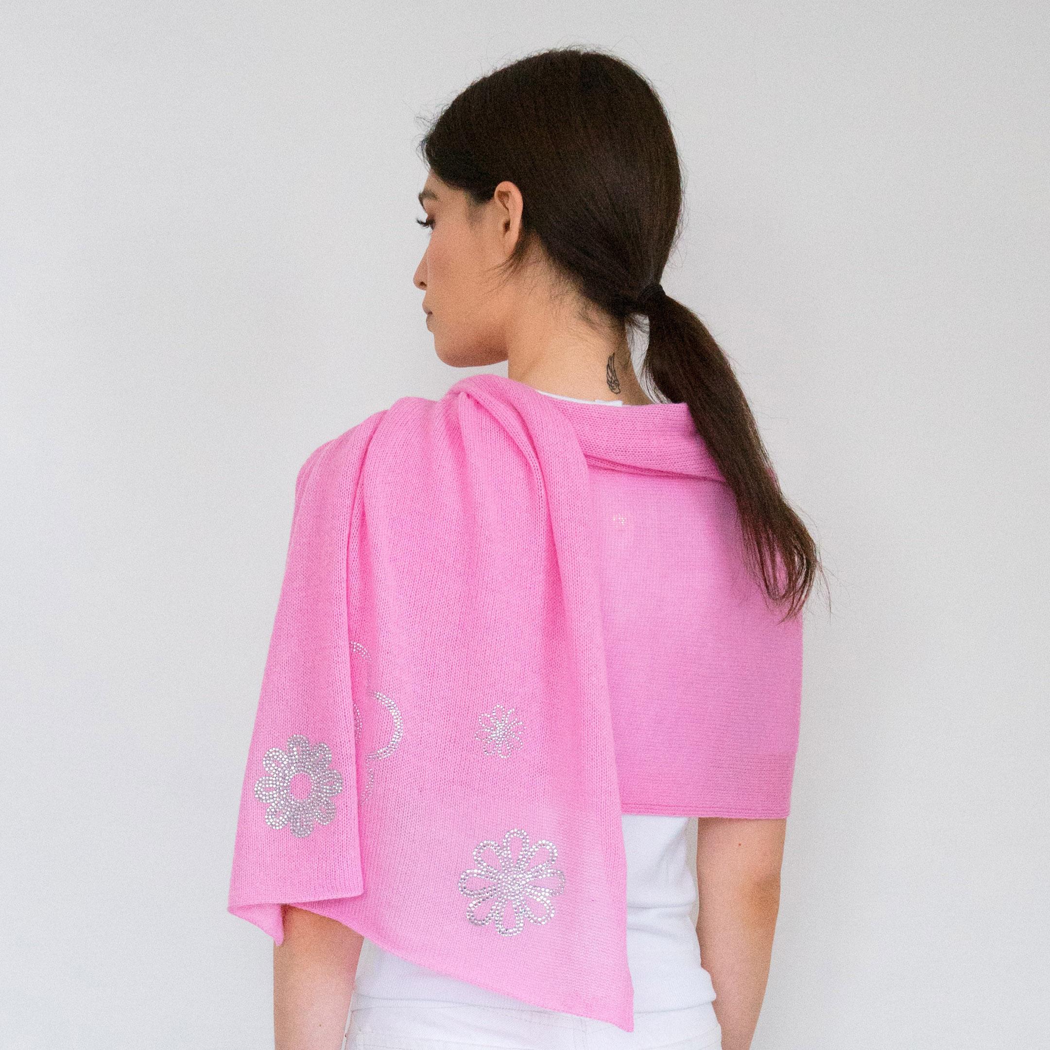 - Scattered Crystal Flowers on Carnation Pink Cashmere