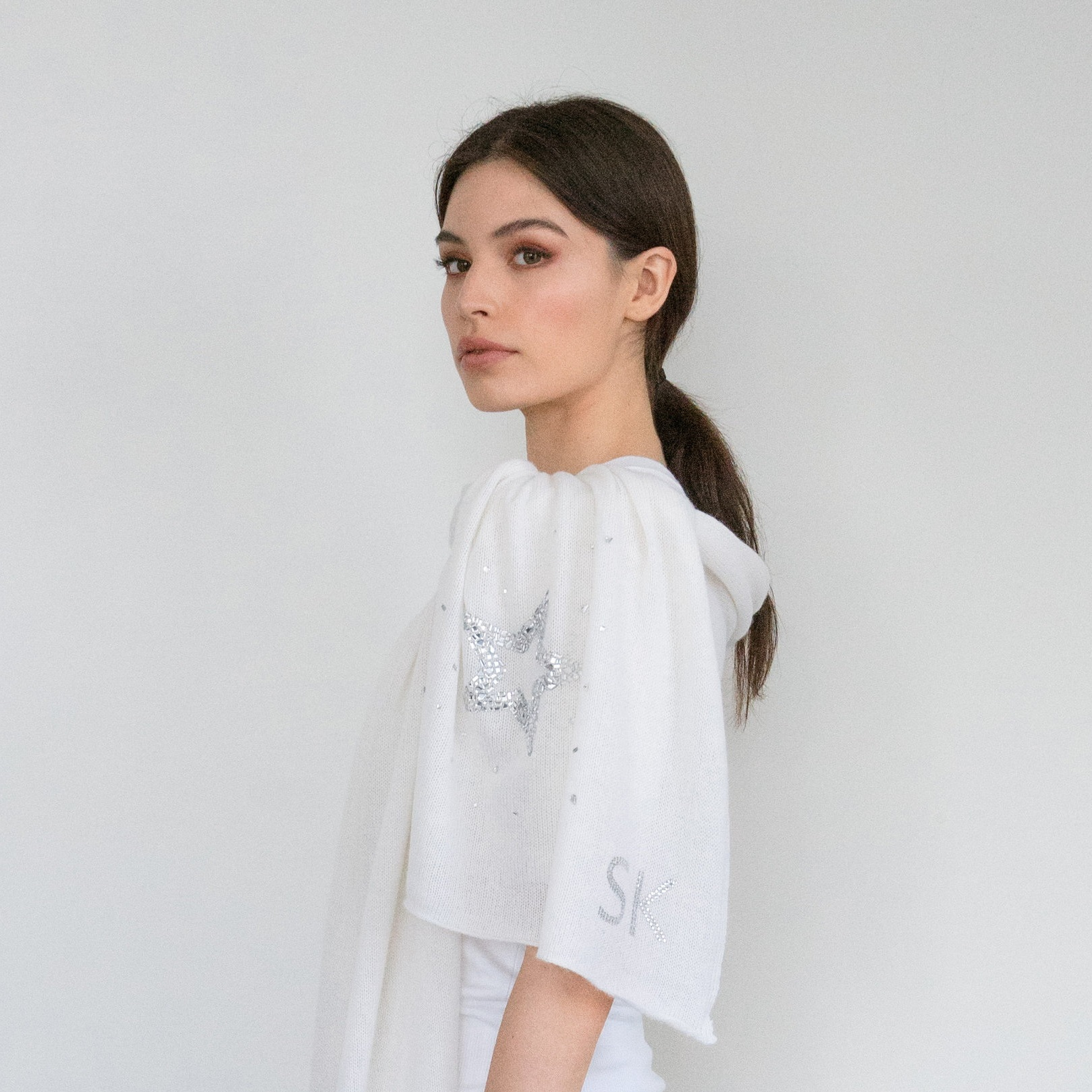- Crystal Art Deco Star on Bleached White Cashmere