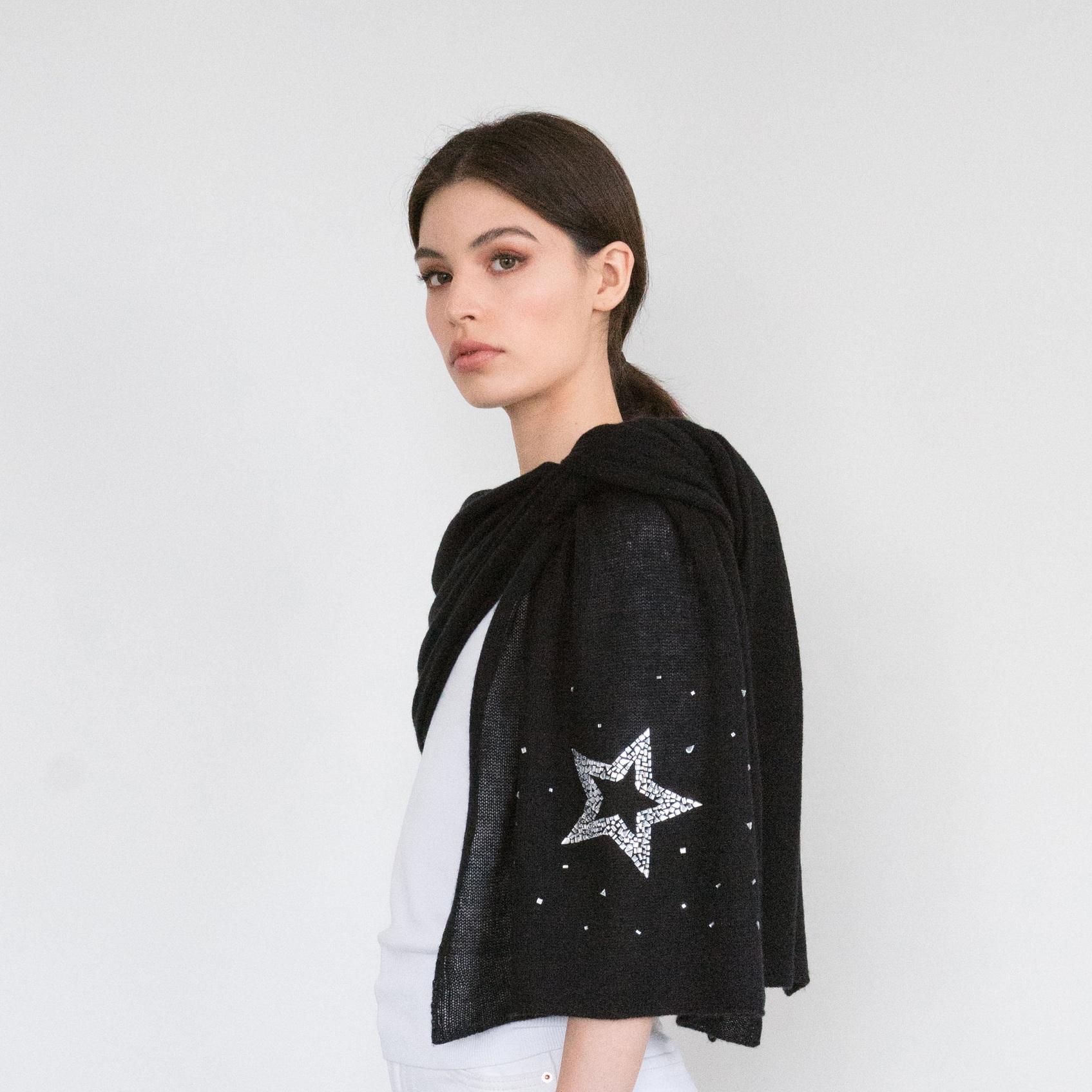 - Crystal Art Deco Star on Black Cashmere
