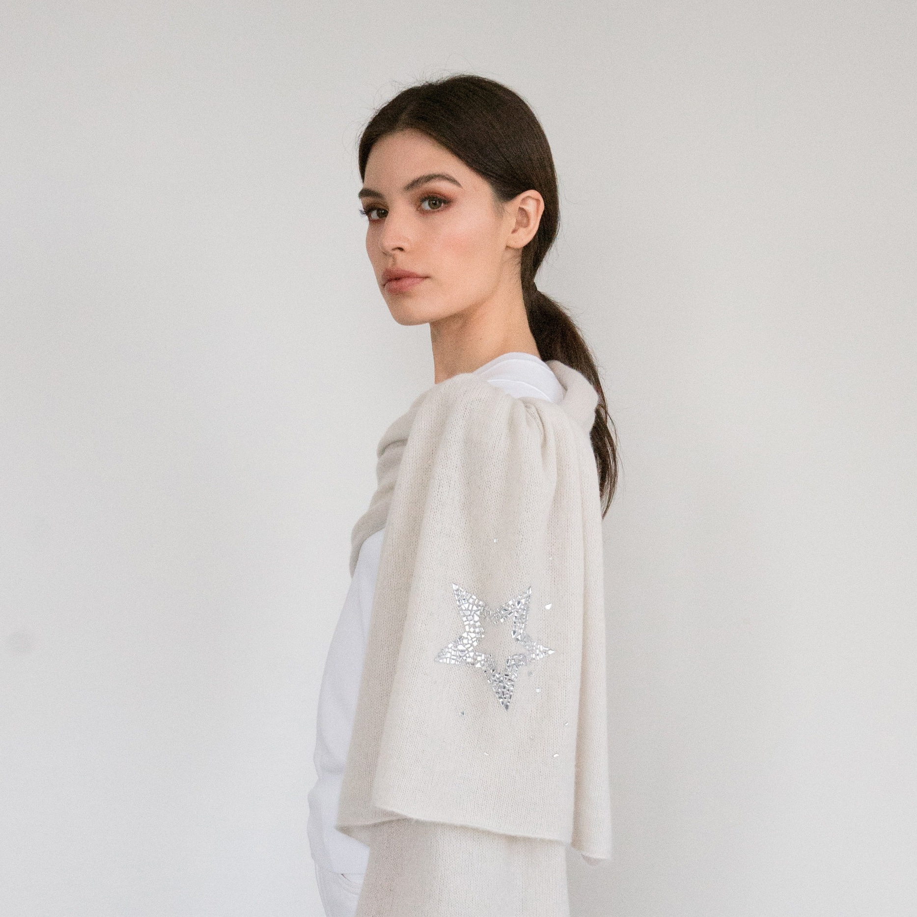 - Crystal Art Deco Star on Yogi Ivory Cashmere