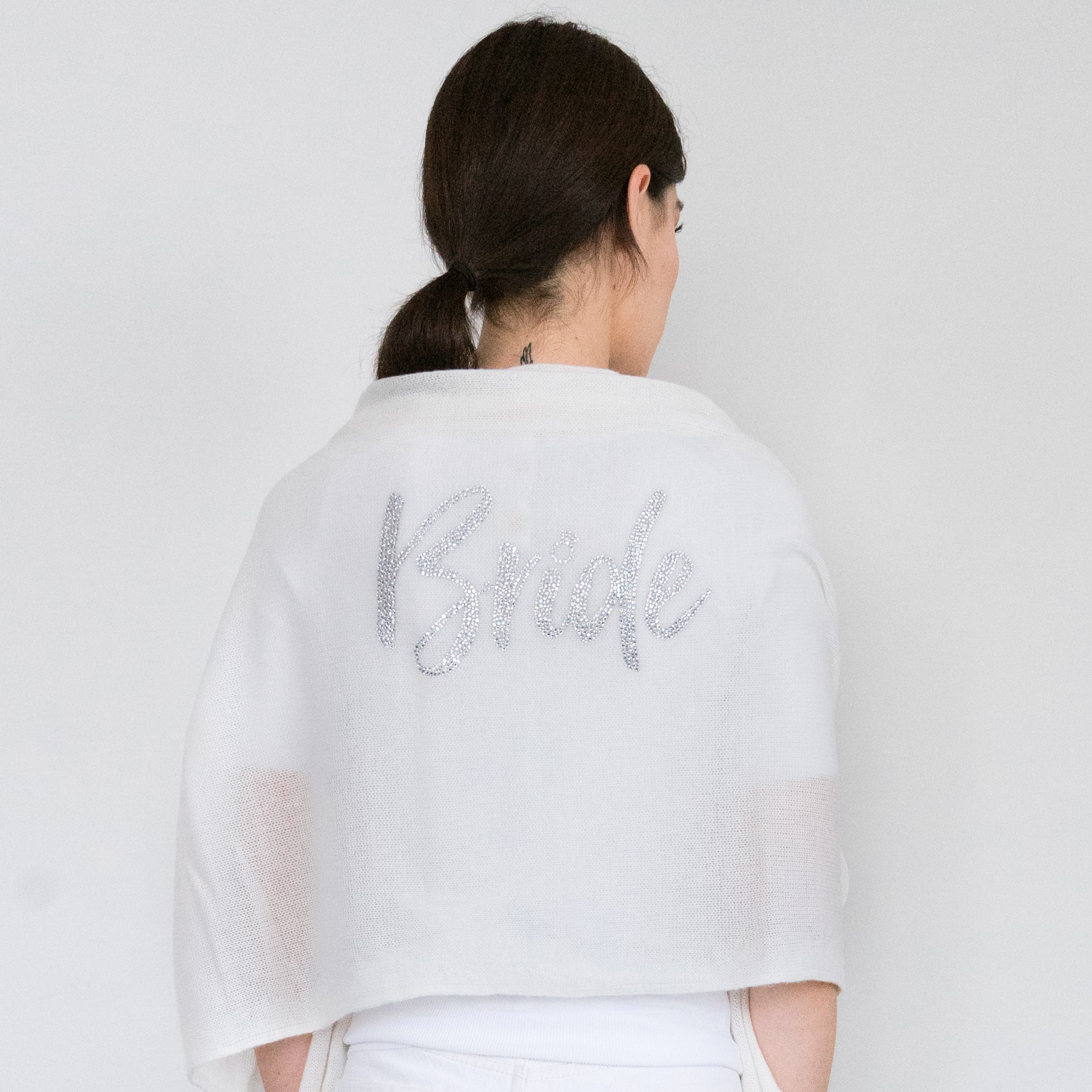 - Crystal Bride Applique on Bleached White Cashmere