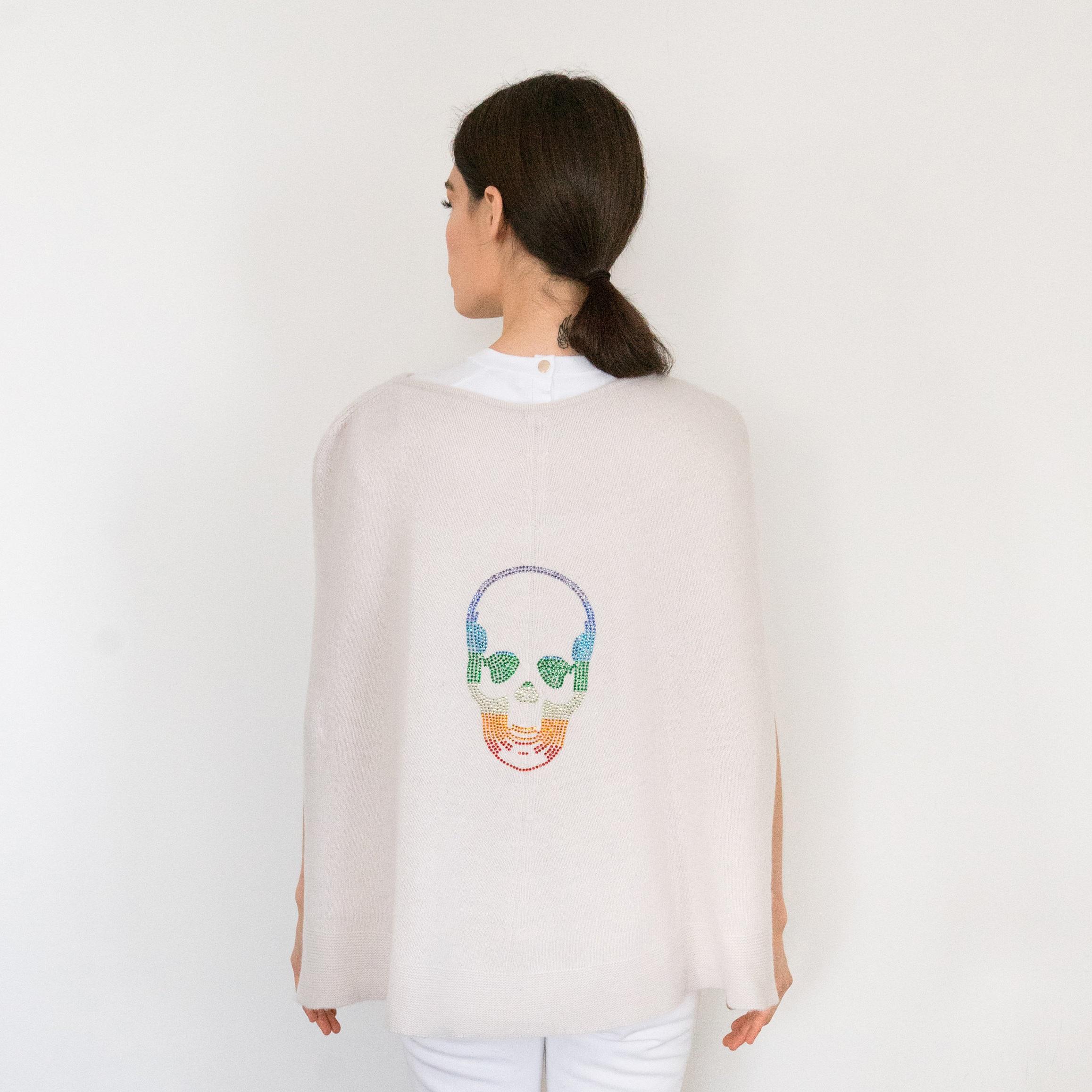- Rainbow Skull Crystal Rainbow Skull on Yogi Ivory Cashmere