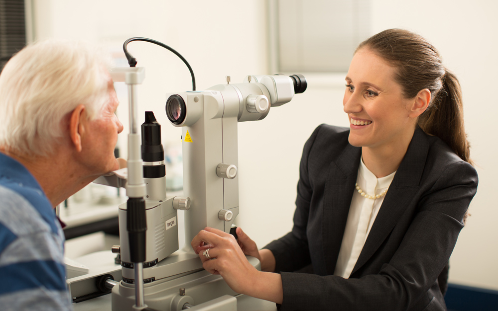 Dr Frances Kearney examining patient using latest Ophthalmology equipment.