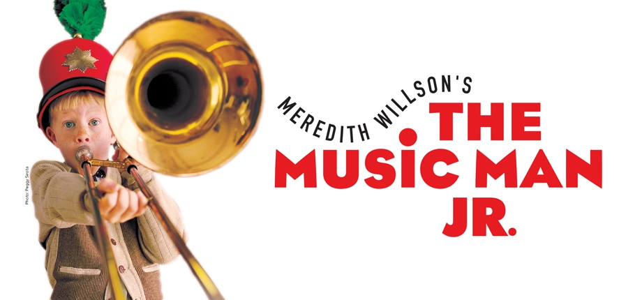 """Based on Meredith Wilson's six-time-Tony-Award-winning musical comedy,  The Music Man JR.  features some of musical theatre's most iconic songs and a story filled with wit, warmth, and good old-fashioned romance.  The Music Man JR.  is family entertainment at its best – a bold, brassy show that will have the whole town a-twitter!   Master showman Harold Hill is in town and he's got """"seventy-six trombones"""" in tow. Can upright, uptight Marian, the town librarian, resist his powerful allure? The story follows fast-talking, traveling salesman, Harold Hill, as he cons the people of River City, Iowa, into buying instruments and uniforms for a boys' band he vows to organize. The catch? He doesn't know a trombone from a treble clef! His plans to skip town with the cash are foiled when he falls for Marian, whose belief in Harold's power just might help him succeed in the end in spite of himself."""