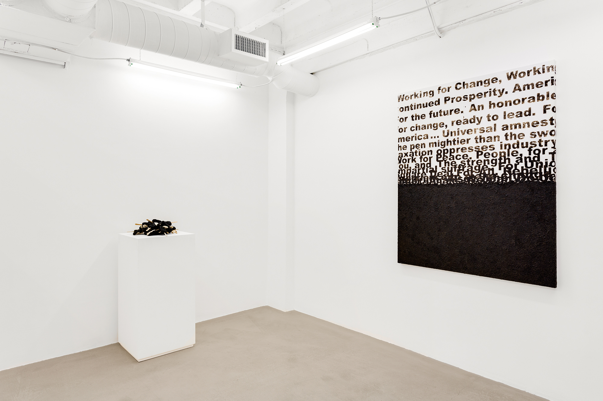 Obras en sala de la exposición The Book, the Egg, and the Fly. David Castillo Gallery, 2017