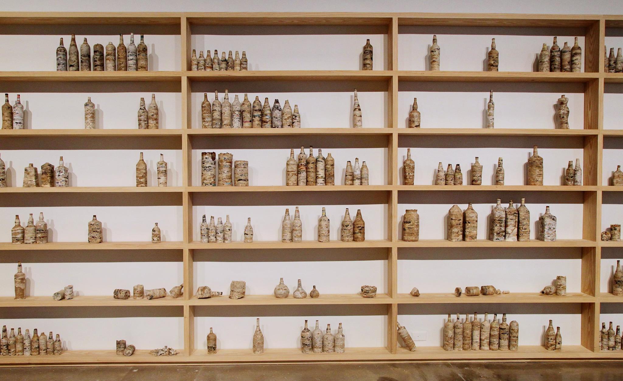 Embotellados / Bottled  ,    paper, glass and wood, 2016. Foto Oriol Tarridas