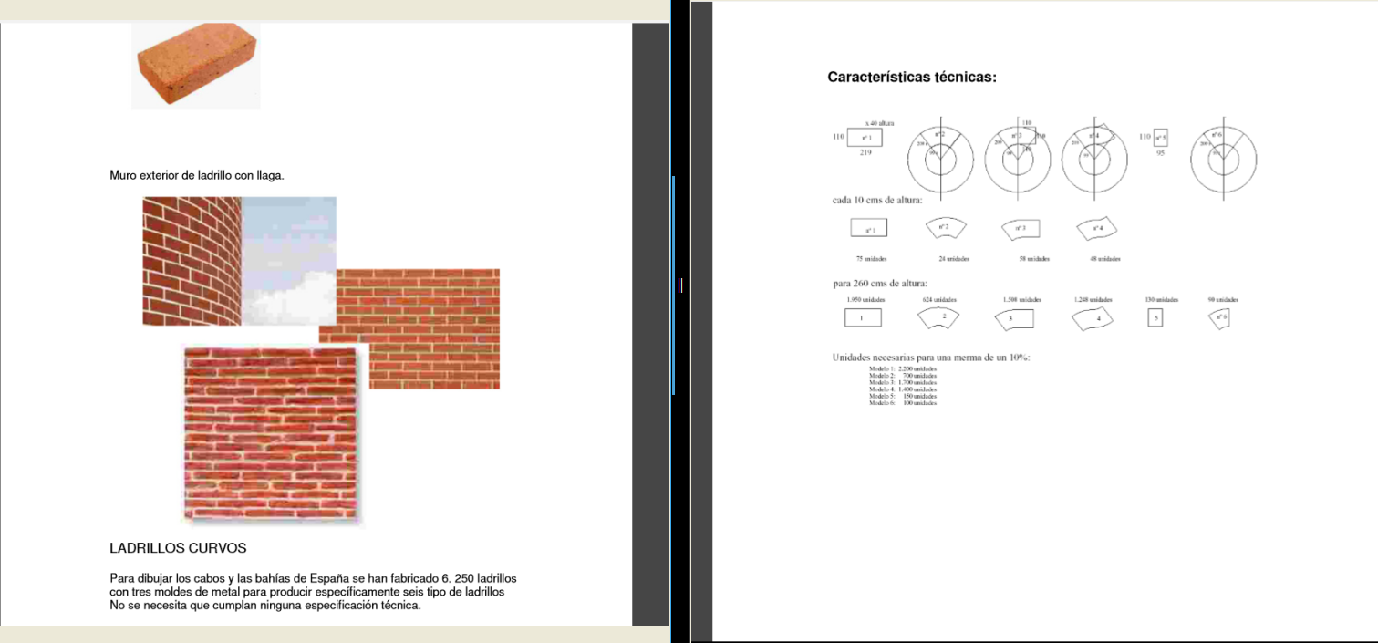 Documentación técnica para fabricación de ladrillo empleados en la exposición  Actos Heróicos