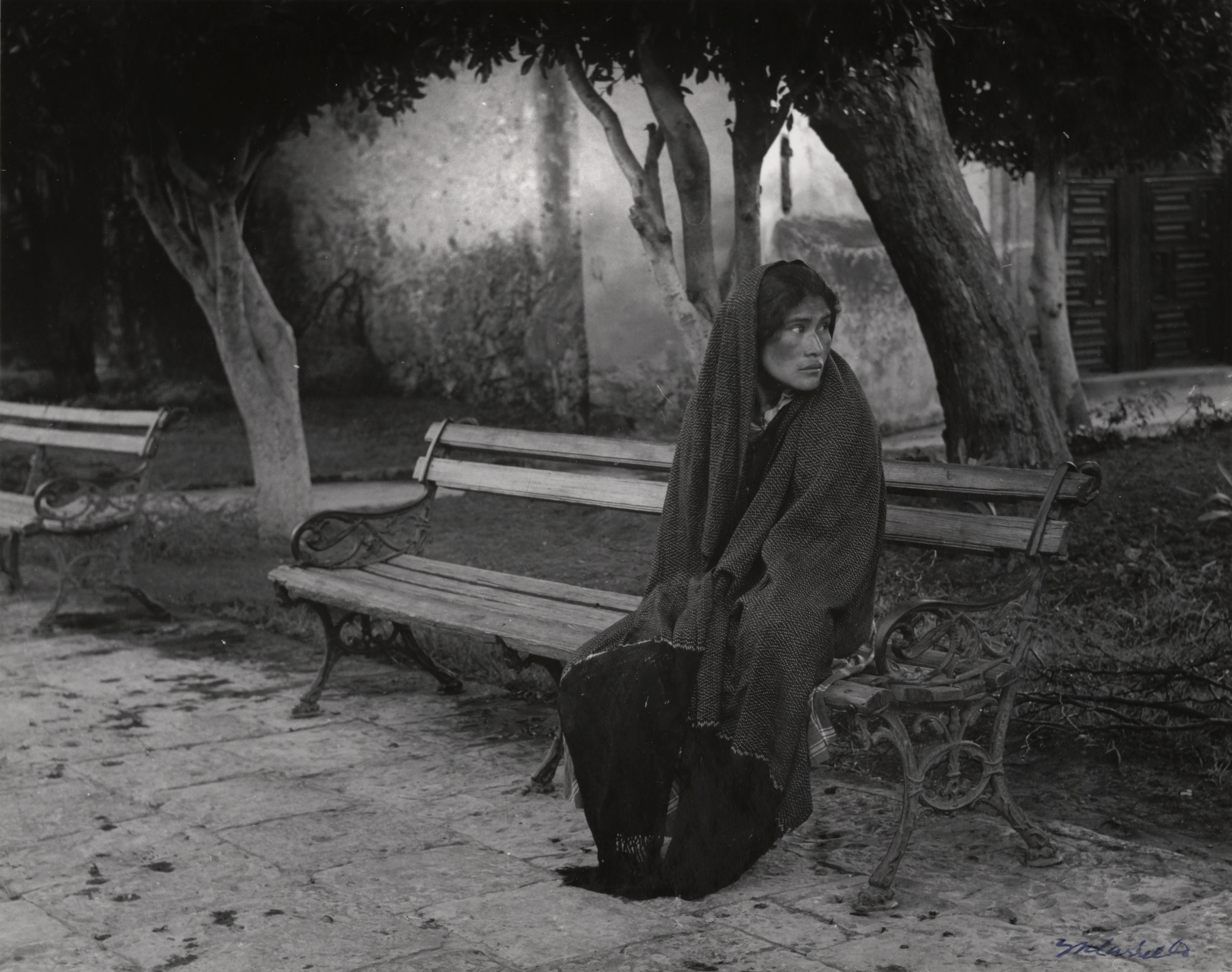 Woman Wearing Shawl Sitting on Park Bench  (San Miguel Allende, Guanajuato), 1970.Black & White photograph on paper. 8 x 10