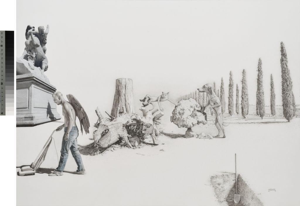 Réquiem . Lápiz, tinta, acuarela y collage s/papel. 49.1 x 67.6 cm. 2015