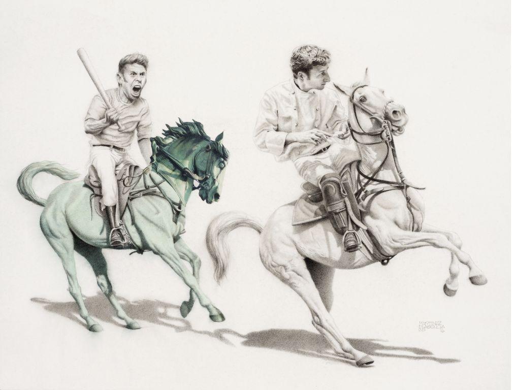 El caballo verde . Lápiz, tinta, acuarela y collage s/papel. 28 x 37.2 cm, 2016