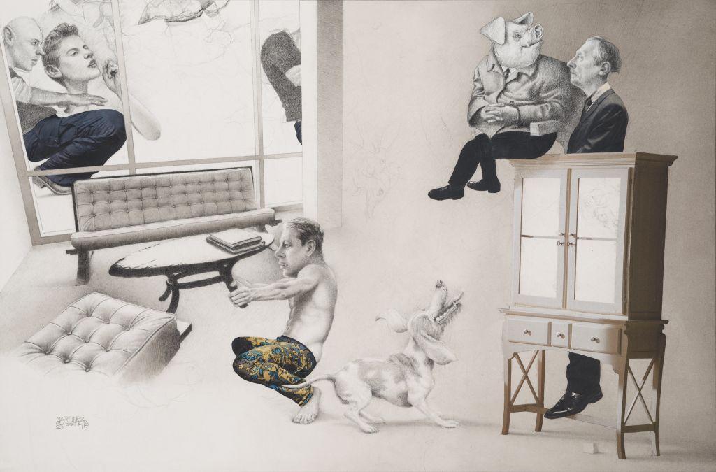 Condominio . Lápiz, tinta, acuarela y collage s/papel. 29 x 43.7 cm, 2015