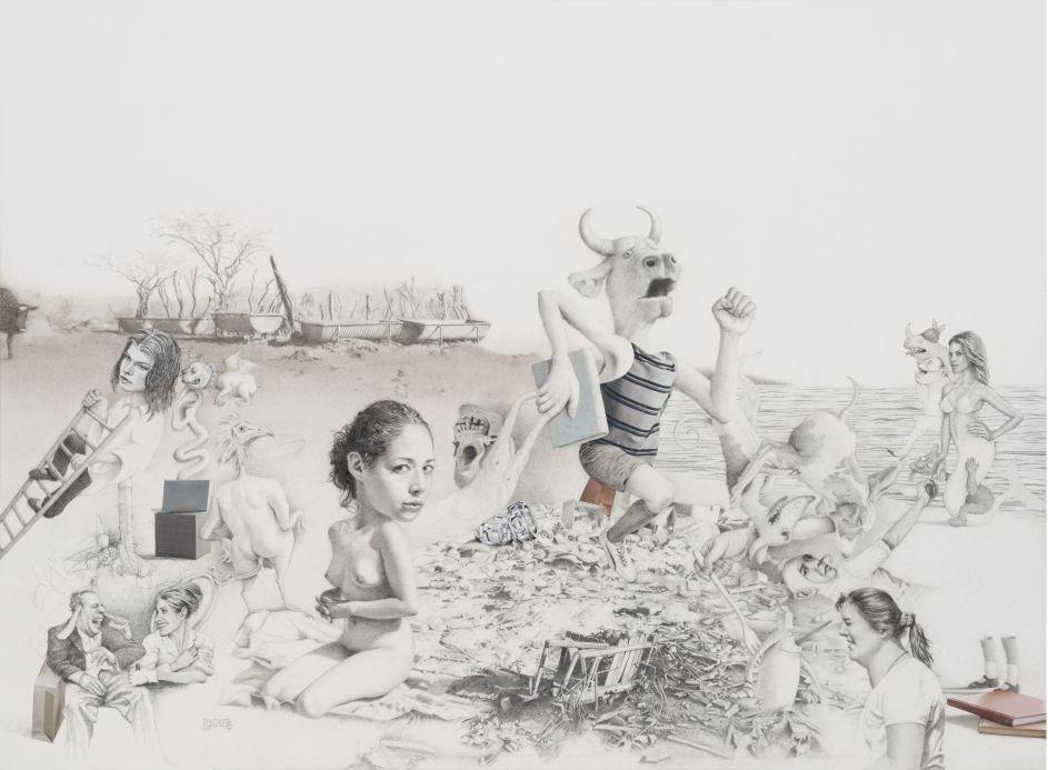 Naufragio. Lápiz, tinta, acuarela y collage s/papel. 49 x 67.5 cm, 2015