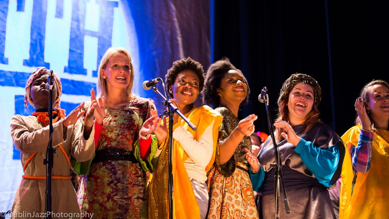 Dublin Discovery Gospel Choir performing with OuterSpaceways at Down With Jazz festival 2013.jpg
