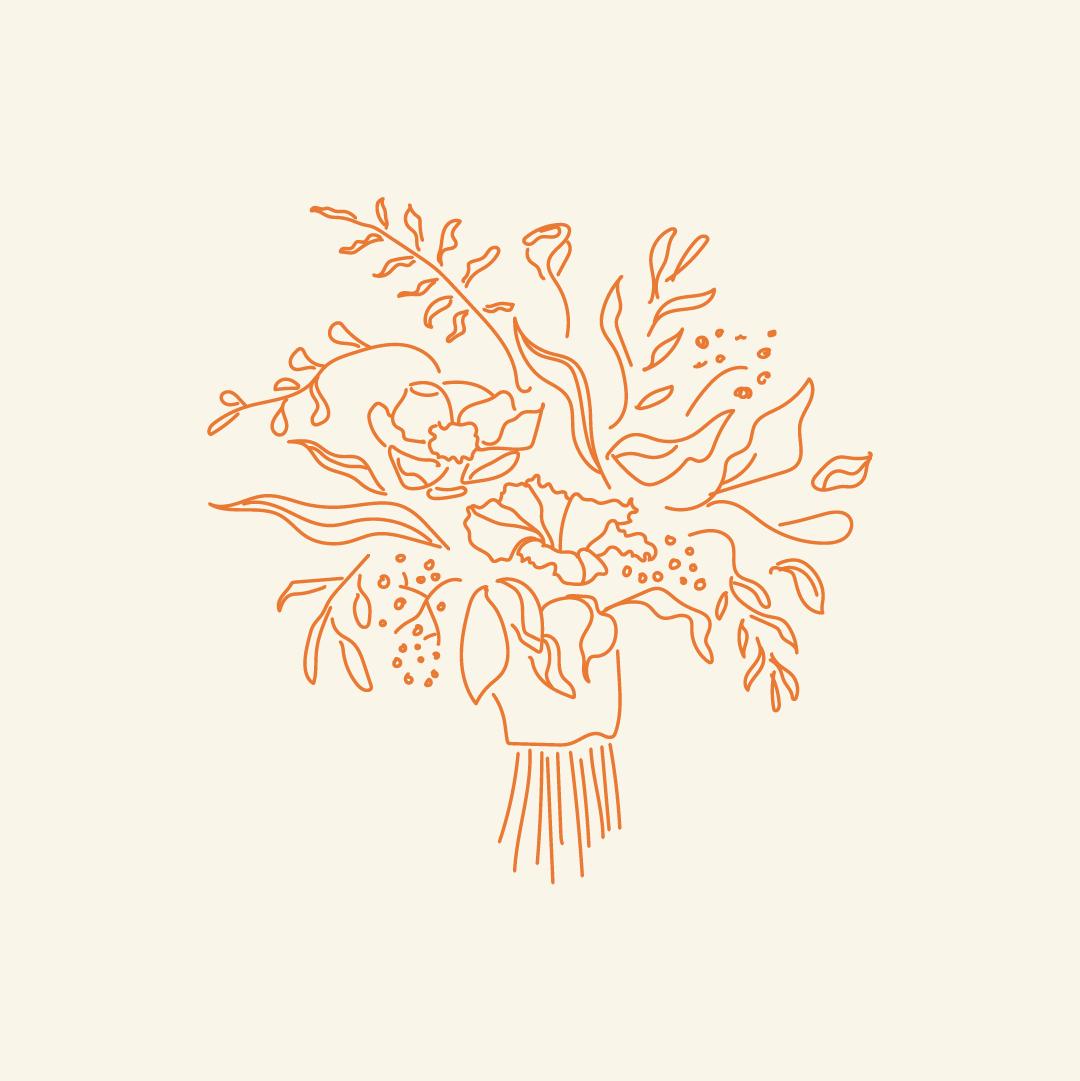 The London Celebrant_Illustration_Bunch Flowers_Artwork_RGB_1080X1080pixels_Grey_Orange.png