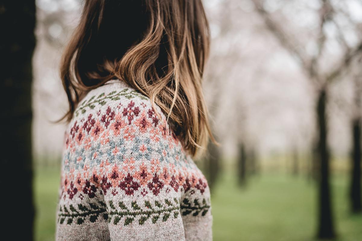 birkin sweater knitting close up yoke