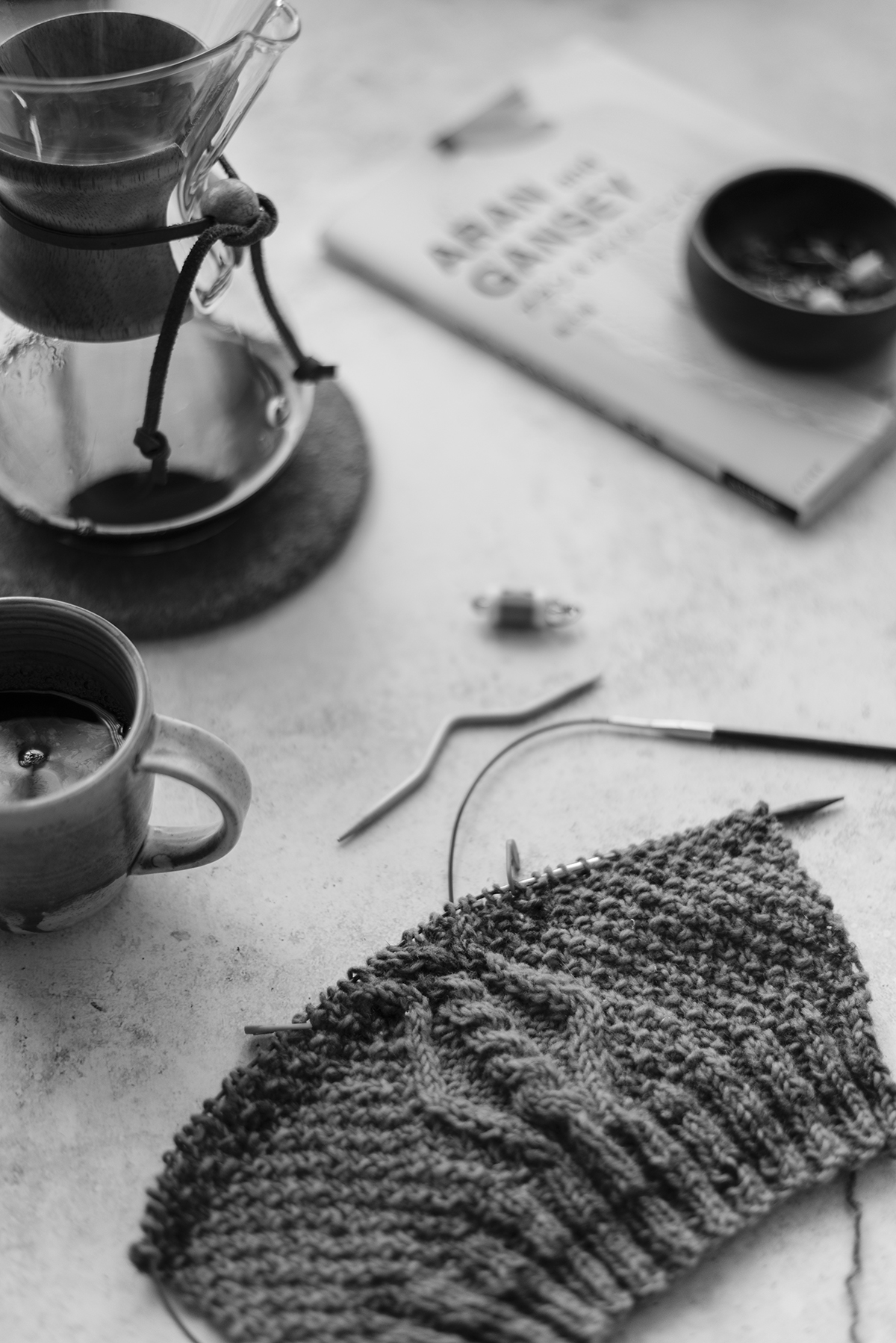 wip-black and white photograph-knitting-and-coffee-still-patricia-martins-yellowish-2019