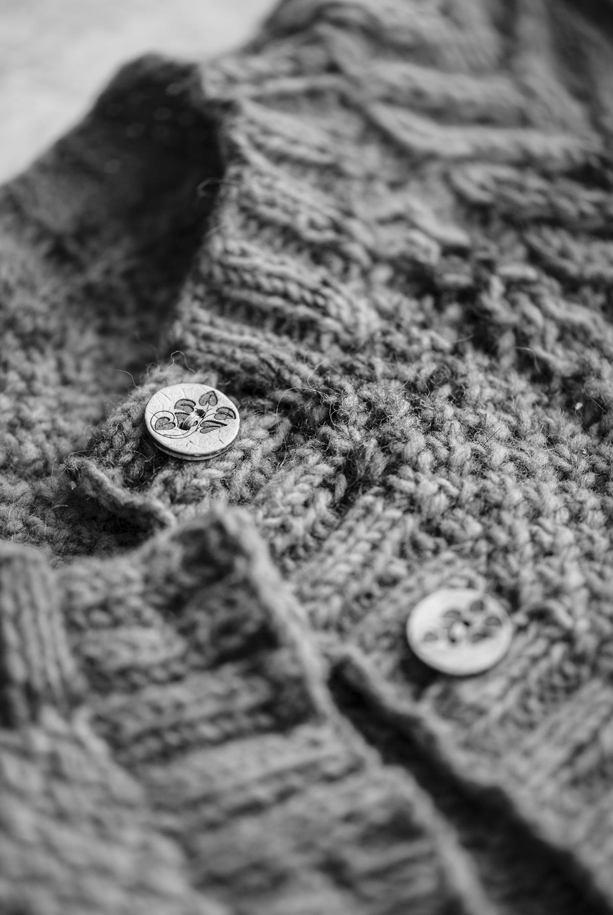 close up black and white photography aran cardigan collar button Yellowish blog