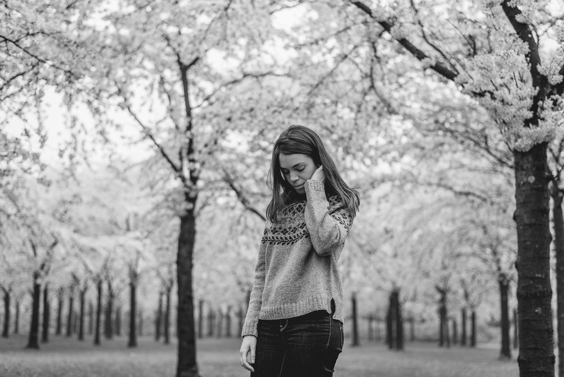 portrait black and white photography knitting birkin sweater hanami sakura cherry blossom