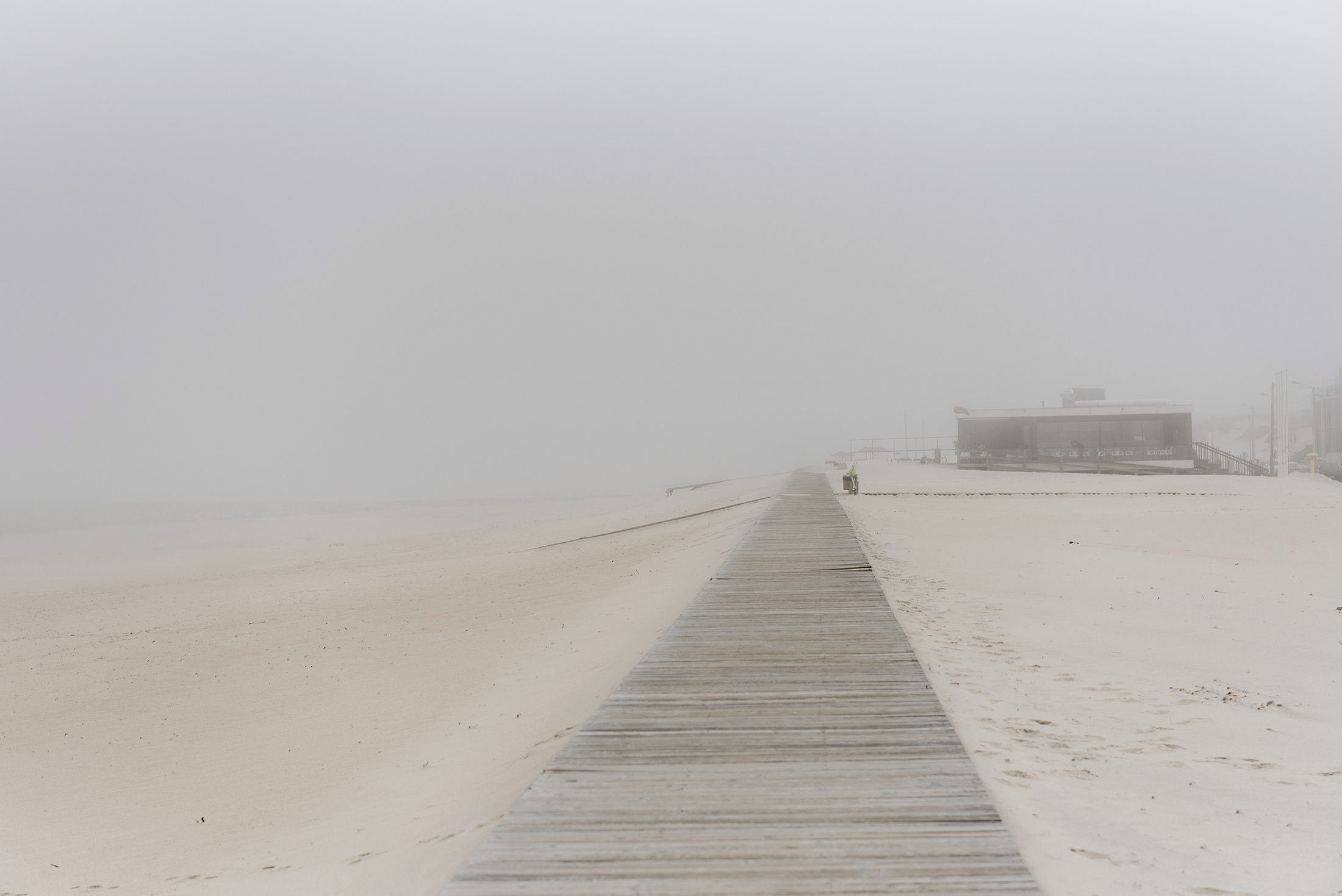foggy beach morning Costa Nova Aveiro Portugal
