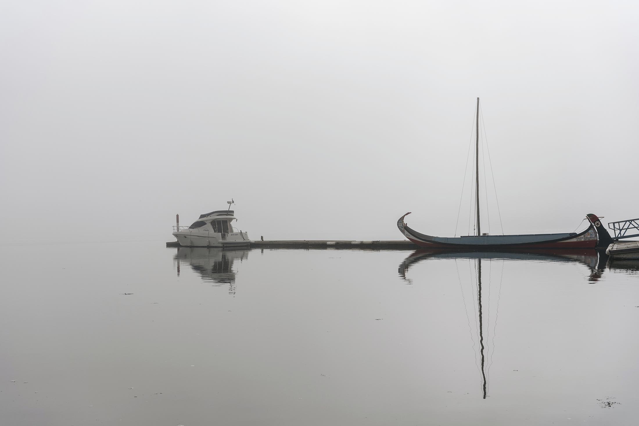 fog Ria Aveiro Costa Nova boat and moliceiro