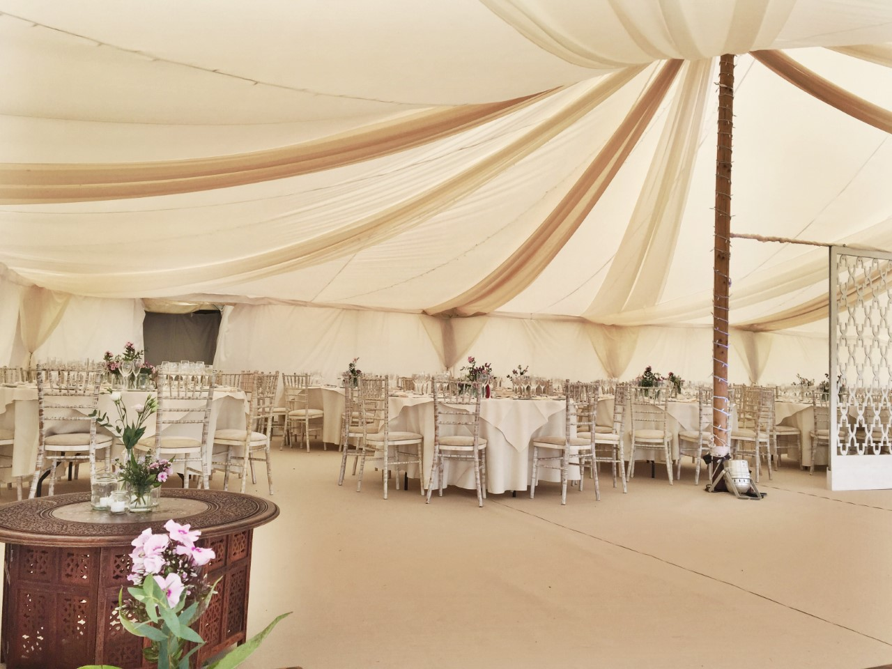 Inside the beautiful marquee.
