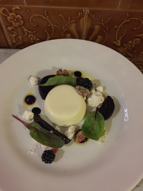 Goats cheese panna cotta beetroot salad, caramelised walnuts