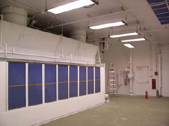 40' X 25' X 14' high paint booth with water sprinklers and filter system