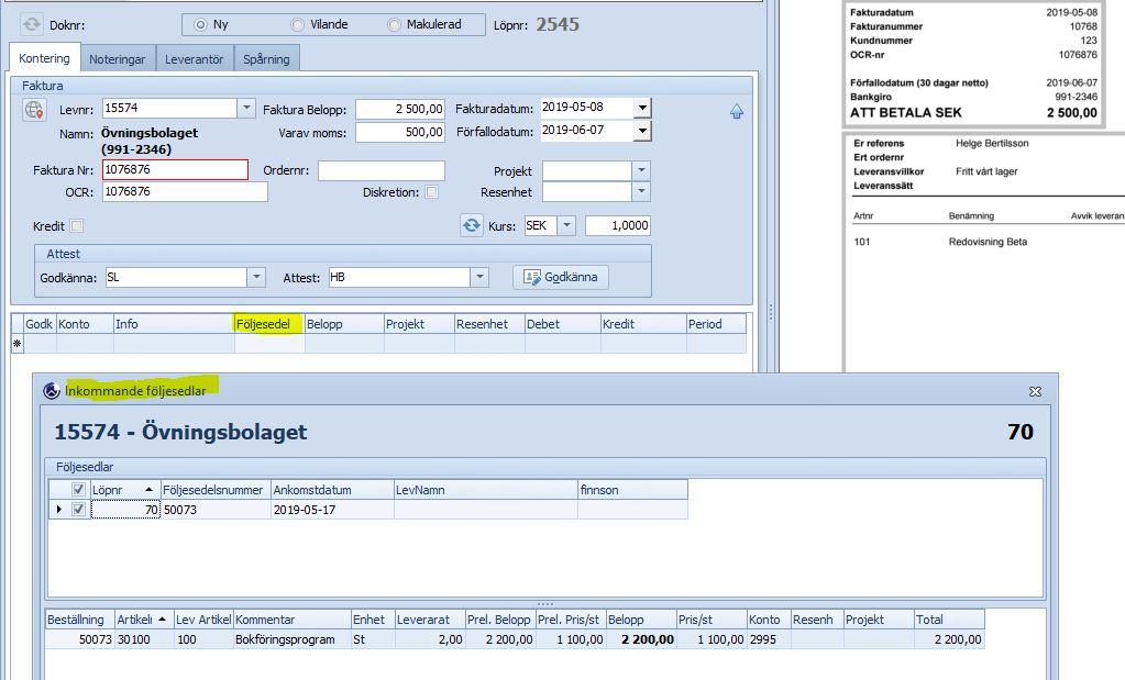 Koppling inkommande följesedel, underlättar arbetet med logistiken - Nyhet 2019..!