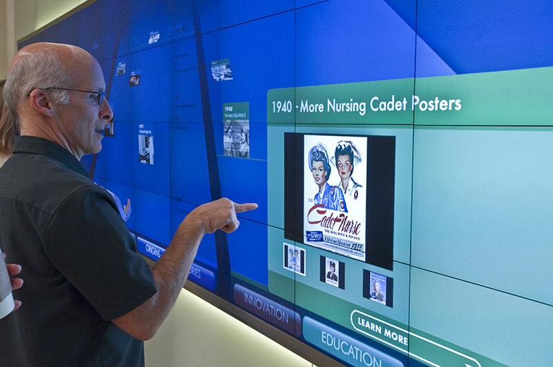 Interactive Digital signage history wall for Saint Luke's Hospital
