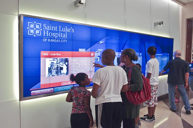 Digital signage history wall for Saint Luke's Hospital