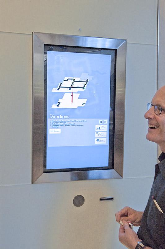 Interactive touch screen wayfinding kiosk for Saint Luke's Hospital